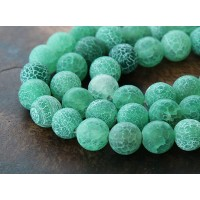 Frosted Agate Beads, Green, 10mm Round