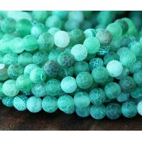 Frosted Agate Beads, Green, 6mm Round