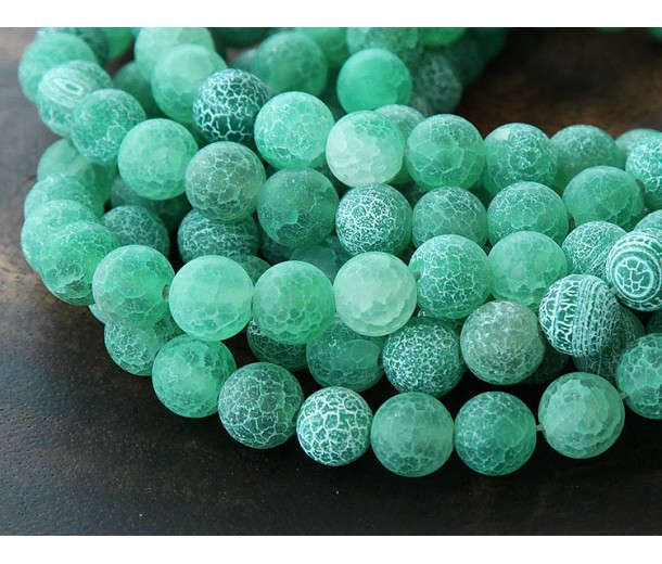 Frosted Agate Beads, Green, 8mm Round