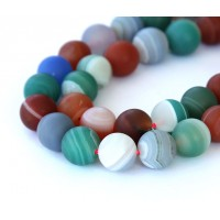 Matte Agate Beads, Multicolor, 10mm Round