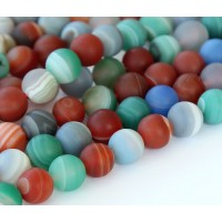 Matte Agate Beads, Multicolor, 8mm Round