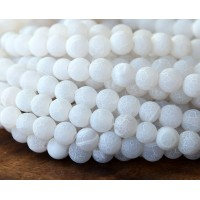 Frosted Agate Beads, White, 6mm Round