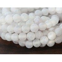 Frosted Agate Beads, White, 10mm Round