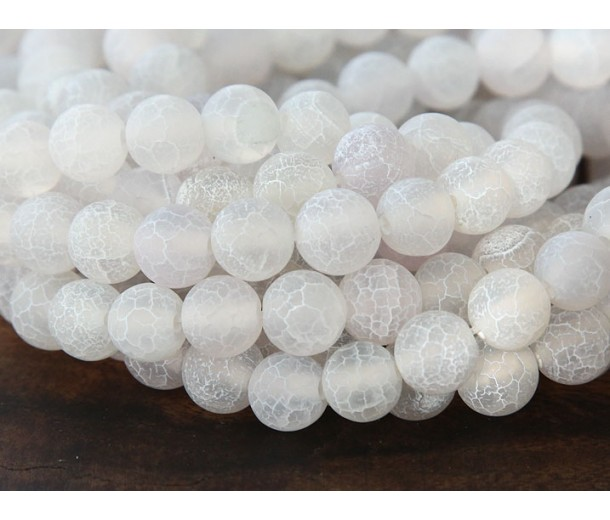 Frosted Agate Beads, White, 8mm Round
