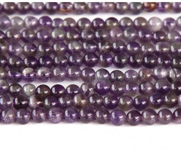 Amethyst Beads, Medium Purple, 4mm Round
