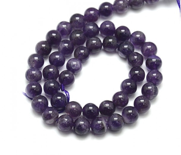 Amethyst Beads, Natural Medium Purple, 6mm Round