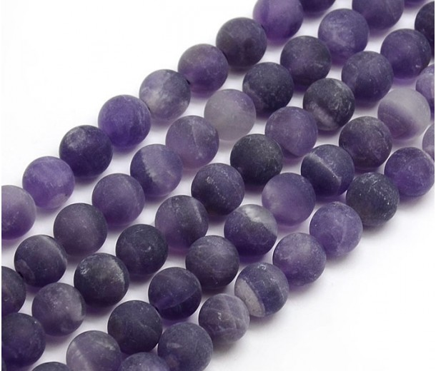 Matte Amethyst Beads, Medium Purple, 8mm Round