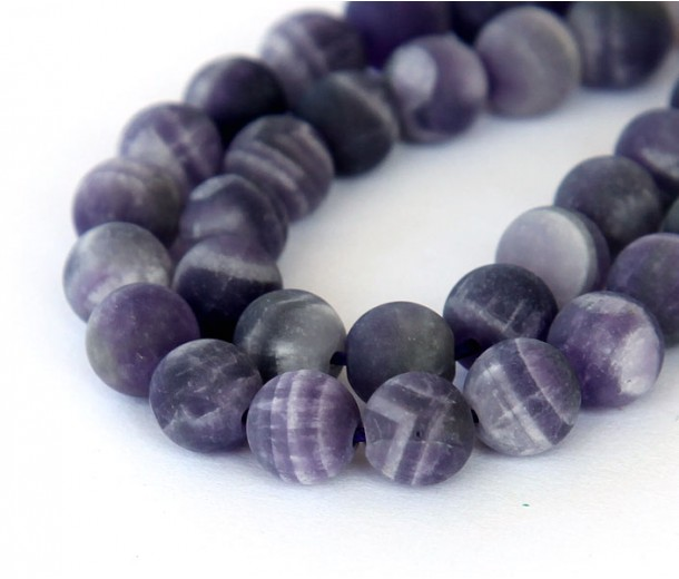 Matte Amethyst Beads, Natural, Medium Purple, 12mm Round