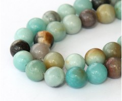 Amazonite Beads, Natural Multicolor, 8mm Round