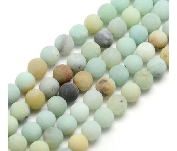 Matte Amazonite Beads, Multicolor, 8mm Round, 15 Inch Strand