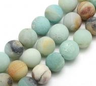 Matte Amazonite Beads, Multicolor, 10mm Round