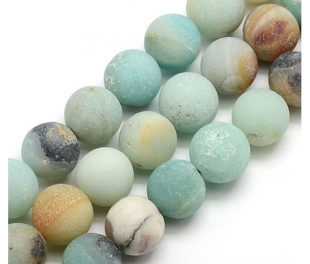 Matte Amazonite Beads, Multicolor, 12mm Round