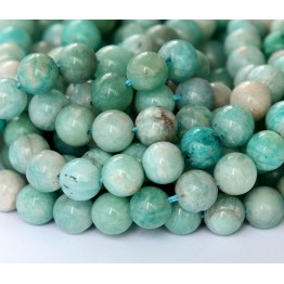 Russian Amazonite Beads, Green, 7.5mm Round