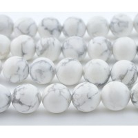 Matte Howlite Beads, White, 8mm Round