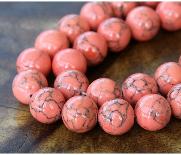 Magnesite Beads, Coral, 10mm Round