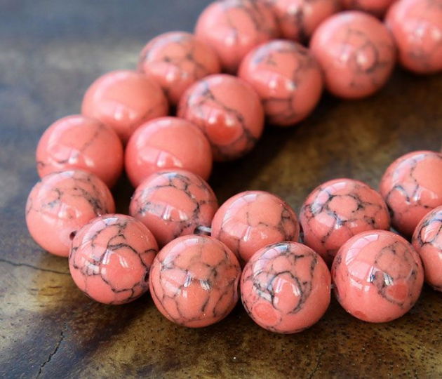 Howlite Beads Coral 10mm Round Golden Age Beads