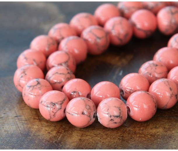 Magnesite Beads, Coral, 8mm Round