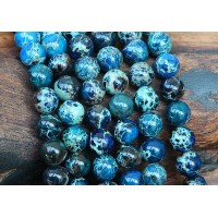 Impression Jasper Beads, Dark Blue, 8mm Round