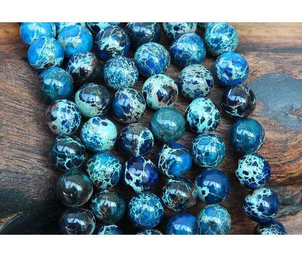 Impression Jasper Beads, Dark Blue, 8mm Round