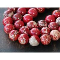 Impression Jasper Beads, Red, 10mm Round