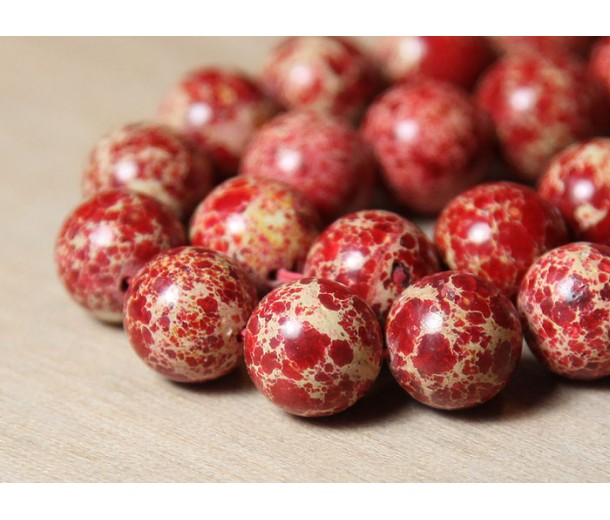 Impression Jasper Beads, Red, 12mm Round