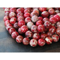 Impression Jasper Beads, Red, 8mm Round