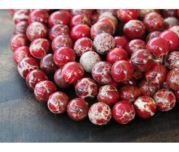 Impression Jasper Beads, Red, 8mm Round