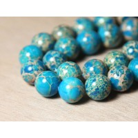Impression Jasper Beads, Light Blue, 12mm Round