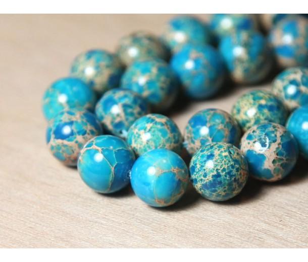 Impression Jasper Beads, Light Blue, 12mm Round
