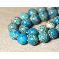 Impression Jasper Beads, Light Blue, 8mm Round