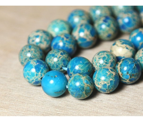 Impression Jasper Beads, Light Blue, 8mm Round