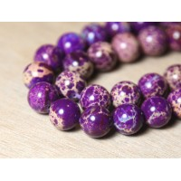 Impression Jasper Beads, Purple, 10mm Round