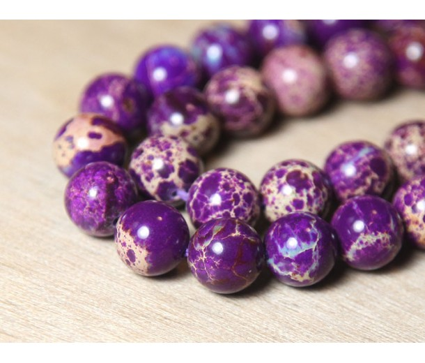 Impression Jasper Beads, Purple, 8mm Round