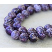Impression Jasper Beads, Dark Purple, 8-9mm Round