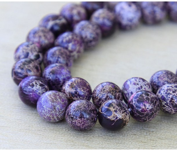 Impression Jasper Beads, Dark Purple, 10mm Round