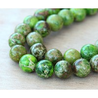 -Impression Jasper Beads, Apple Green, 8mm Round