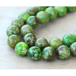 Impression Jasper Beads, Apple Green, 12mm Round
