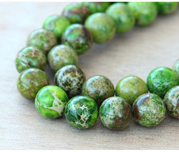 Impression Jasper Beads, Apple Green, 12mm Round