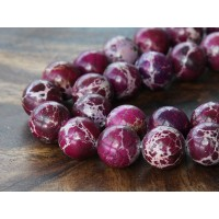 Impression Jasper Beads, Purple, 12mm Round