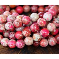 Impression Jasper Beads, Fuchsia, 8mm Round