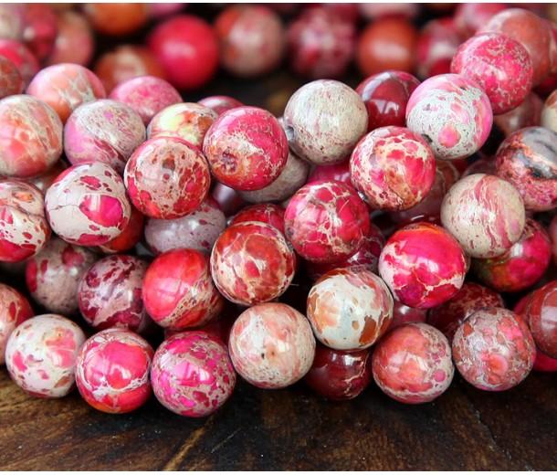 Impression Jasper Beads, Fuchsia, 8mm Round