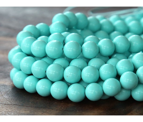 Imitation Turquoise Beads, Light Teal, 6mm Round