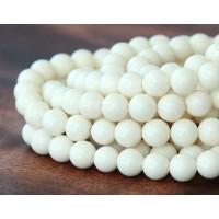 Imitation Turquoise Beads, Ivory, 6mm Round