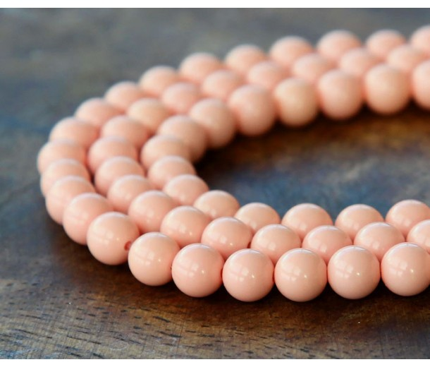 Imitation Turquoise Beads, Light Coral, 6mm Round