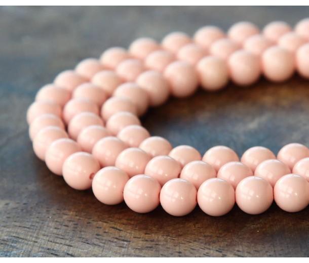 Imitation Turquoise Beads, Light Pink, 6mm Round