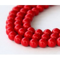 Imitation Turquoise Beads, Red, 6mm Round