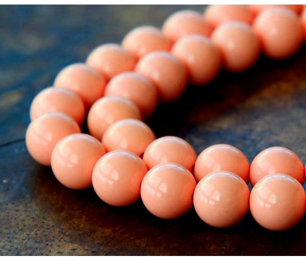 Imitation Turquoise Beads, Coral, 8mm Round