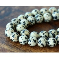 Dalmatian Jasper Beads, Cream, 12mm Round