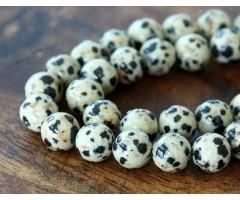 Dalmatian Jasper Beads, Cream, 10mm Round