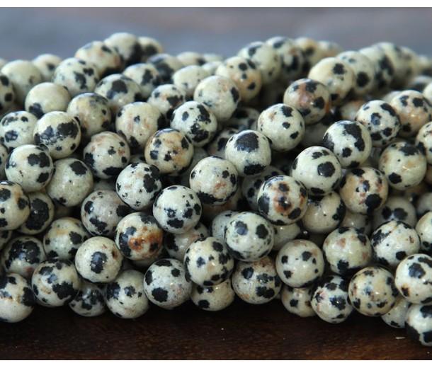 Dalmatian Jasper Beads, Cream, 6mm Round